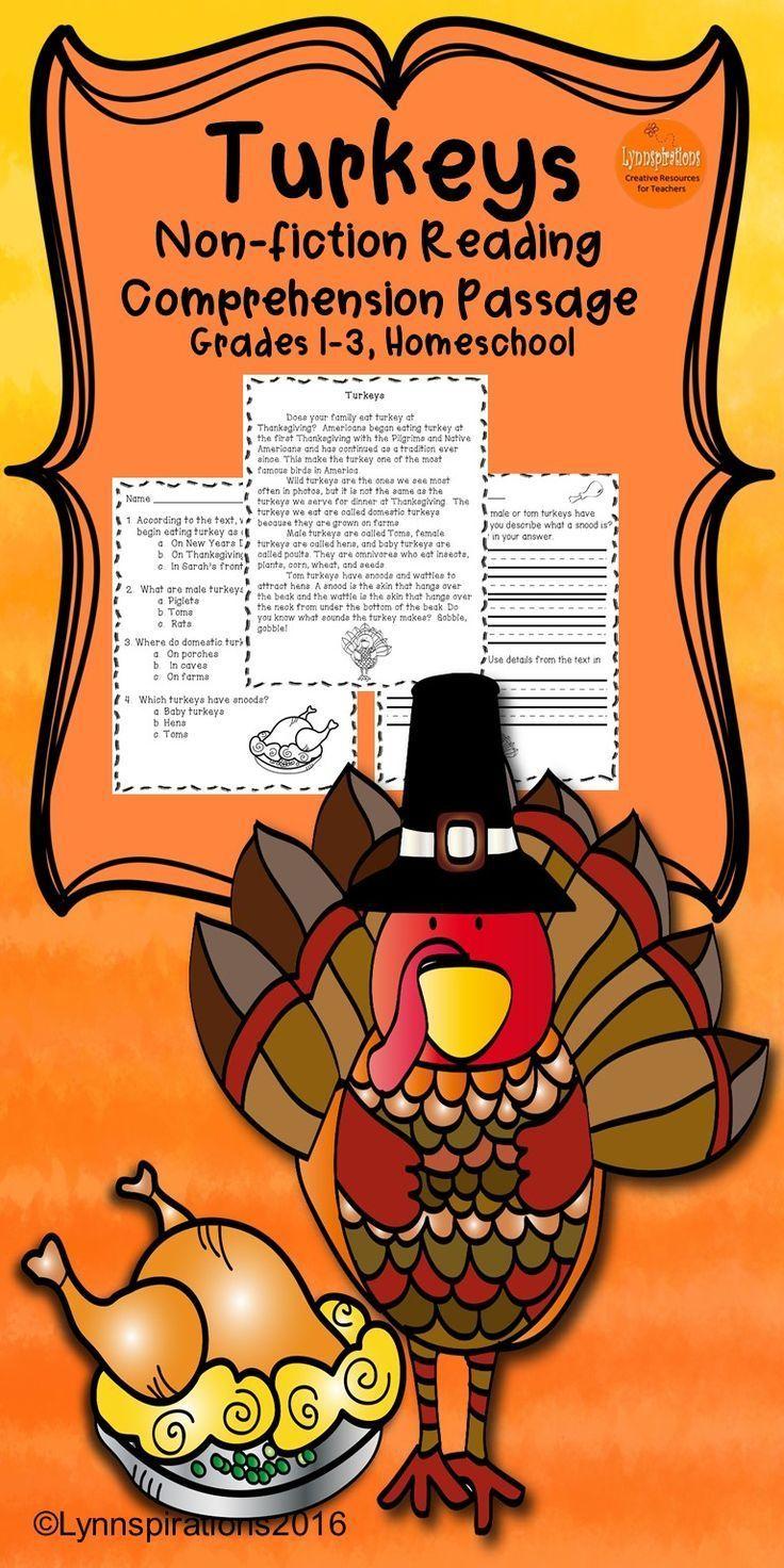 Turkeys- A Non-fiction Reading Comprehension Passage for Grades 1-3 ...