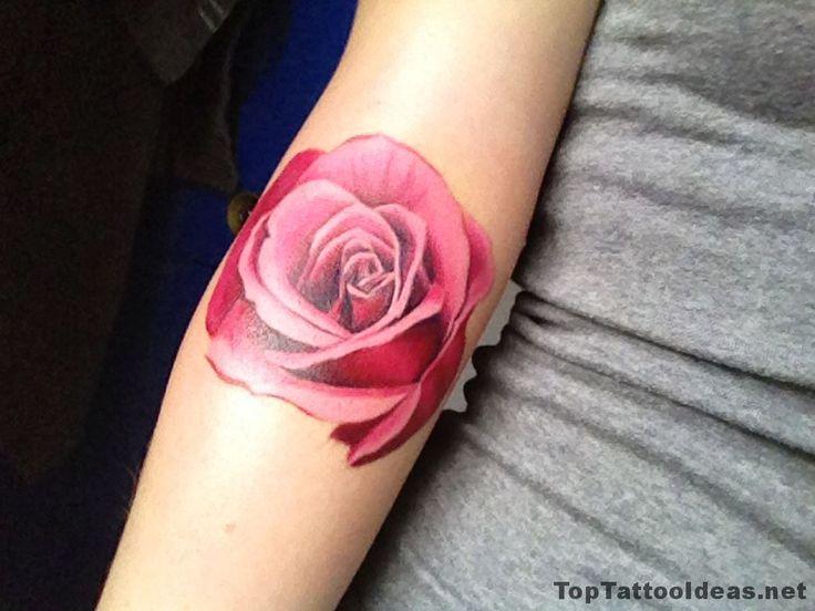 Realistic Rose Arm Tattoo Idea
