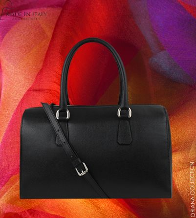 Oriana Collection | MIA Made in Italy | Italian Black Leather Luxe Bags for Women | Made in Italy Accessories   https://madeinitalyaccessories.com/oriana-leather-satchel-bag