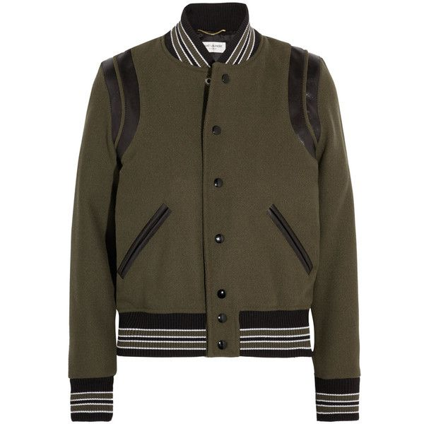Saint Laurent Teddy leather-trimmed wool-blend bomber jacket ($1,915) ❤ liked on Polyvore featuring outerwear, jackets, army green bomber jacket, flight jacket, varsity jacket, style bomber jacket and brown bomber jacket