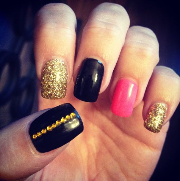 Pink, black, and gold gel nails | Nail designs | Pinterest ...