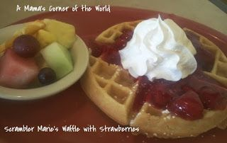 Waffle with Strawberries from a #Restaurant Review: Scrambler Marie's in Reynoldsburg, Ohio ~ A Mama's Corner of the World #familytravel