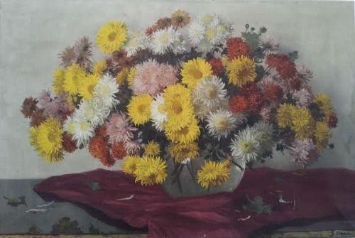 Даниэлем Been (голландский, 1885-1967) - Натюрморт с хризантемами, 61 х 90 см.