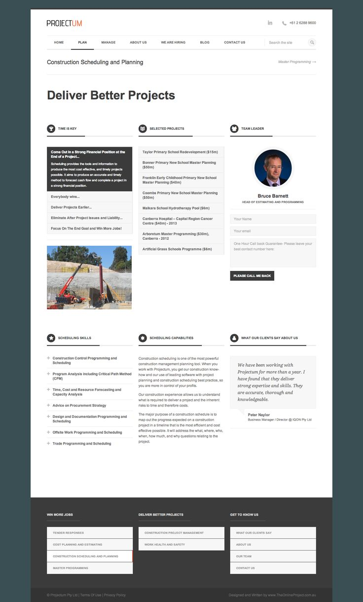 Construction Scheduling - Projectum Civil Engineering Consultancy - Deliver Better Projects - Develop trust: Photo of team leader, the tools, the skills, the projects, the contact form, and what our clients think…