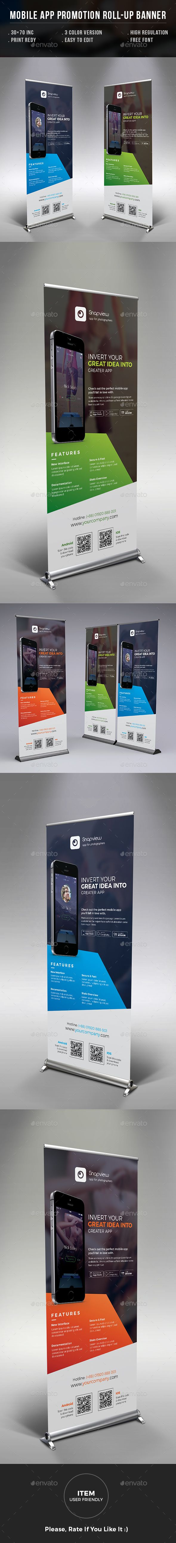 Mobile App Promotion Roll-up Banner - Signage Print Templates Download https://graphicriver.net/item/mobile-app-promotion-rollup-banner/17547170?ref=themedevisers