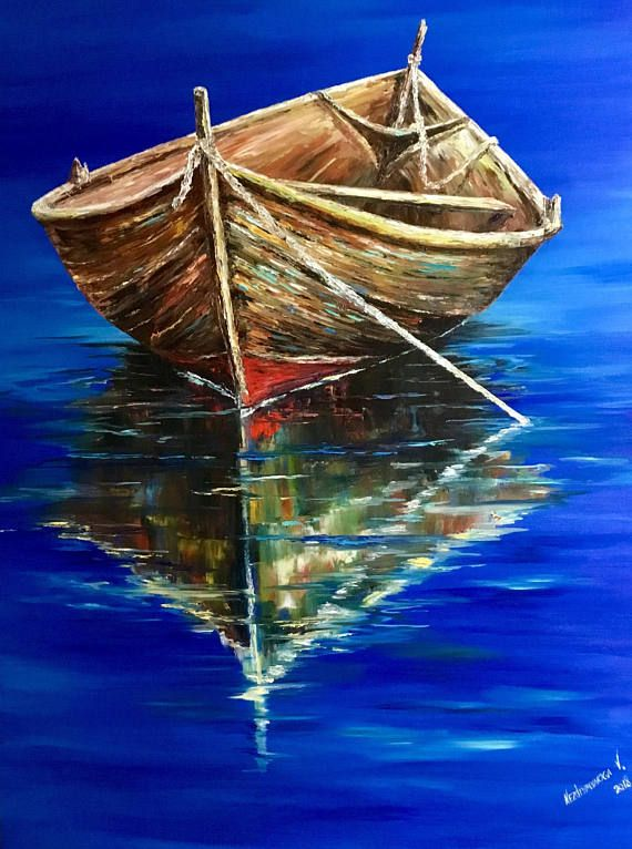 Old Boat Painting Large Oil Painting Canvas Reflections Wall