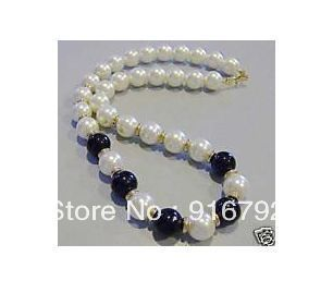 "free shipping  *******18"" 8mm white pearl &black jade necklace"