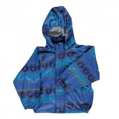 Rain jacket, blue with apples, Smafolk