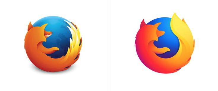 Firefox logo before and after