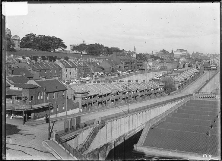 Sydney Harbour Trust employee's homes and kindergarten in High Street, The Rocks, c.1920.