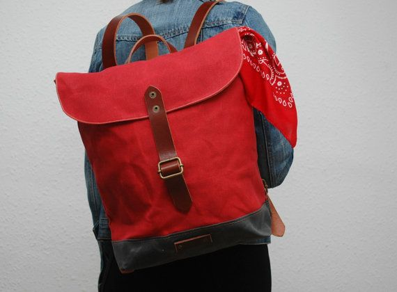 waxed canvas rucksack red color charcoal by NATURALHERITAGEBAGS