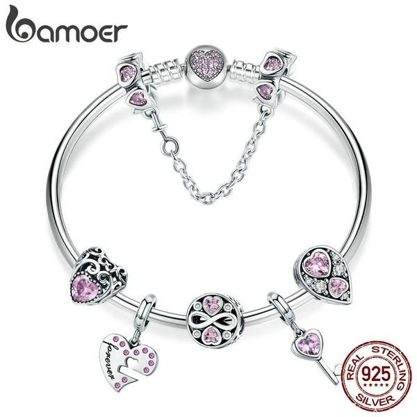 BAMOER 925 Sterling Silver Infinity Charms Beads Love Charm for Snake Chain Bracelet Necklace