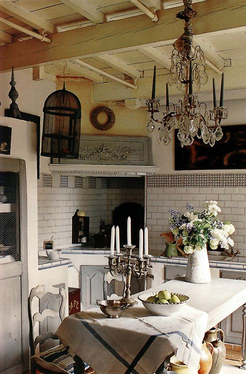 Small kitchen dining complete with chandelier home for Small french country kitchen designs