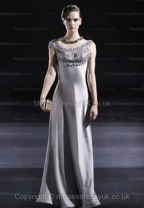 Sheath/Column Scoop Silk-like Satin Floor-length Silver Flowers Evening Dress