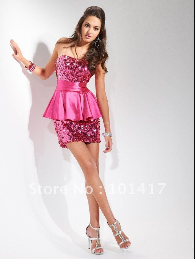 Sequin mini dress strapless lace