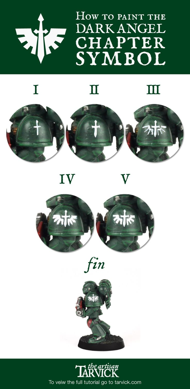 5 easy steps to paint the #Warhammer40k #DarkAngel chapter symbol! Check out the full Dark Angel tutorial here! http://tarvick.com/archives/2317
