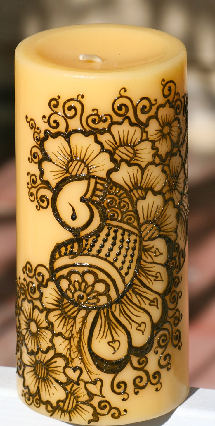 Henna Peacock Candle, Yellow Pillar Candle, Intricate Henna Design. $25.00, via Etsy.