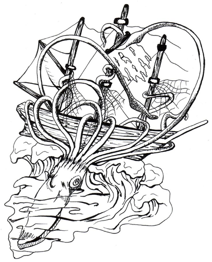 86 best images about giant squid octopus ship on for Giant squid coloring pages