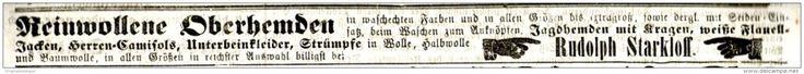 Original-Werbung/ Anzeige 1865 - REINWOLLENE OBERHEMDEN / RUDOLPH STARKLOFF - ERFURT  - ca. 220 x 15 mm