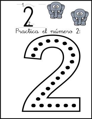 lectoescritura de numeros el 2 ficha 1