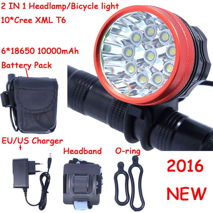 2016 New 18000 Lumens 10 X XM-L T6 LED Front Head Bike Bicycle Cycling Lamp + 10000mAh 6*18650 Battery Pack + Charger