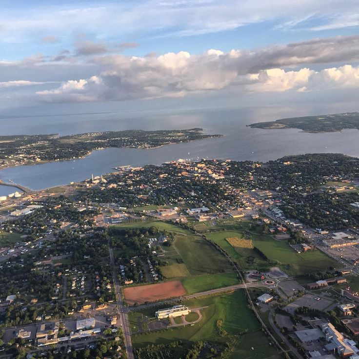 """Great shot of our capital city from Mary Jane Webster (Twitter @mj_rethinking ) : """"Seriously a great view of #charlottetown #pei from the #remax #hotairballoon.  So beautiful and oddly thrilling!"""" #aerial"""
