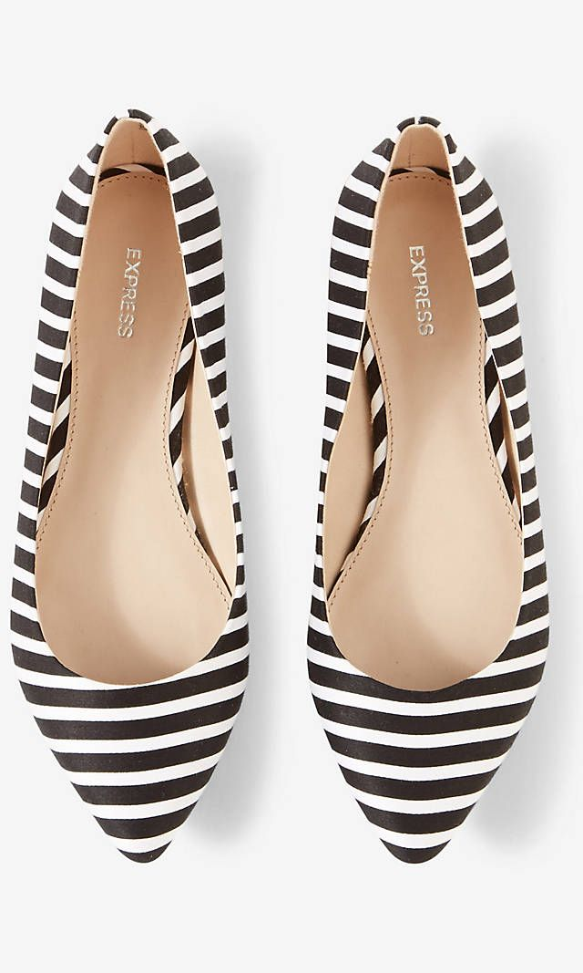 Striped Pointed Toe Flat | Express