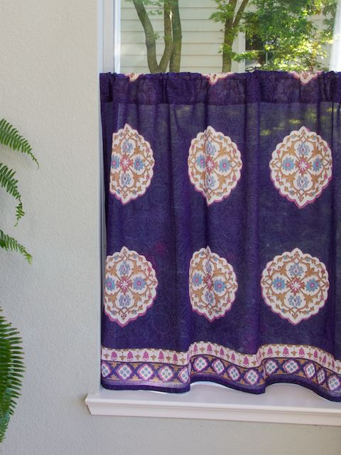 Blue Boho Kitchen Curtains Create A Dazzling Focal Point.