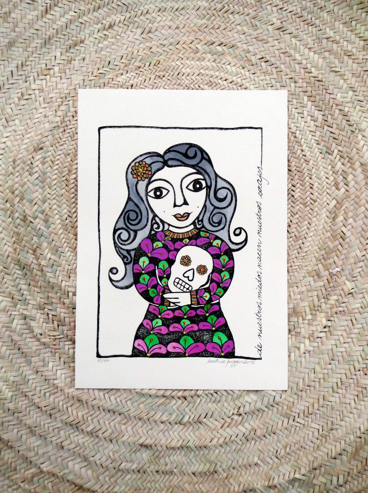 Art print on paper with watercolour, mexican woman and skull, hand coloured, inspirational quote, mexican inspiration, ethnic illustration by BeatricePoggioArt on Etsy