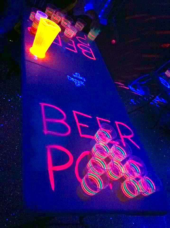 Glow-in-the-Dark Beer Pong!