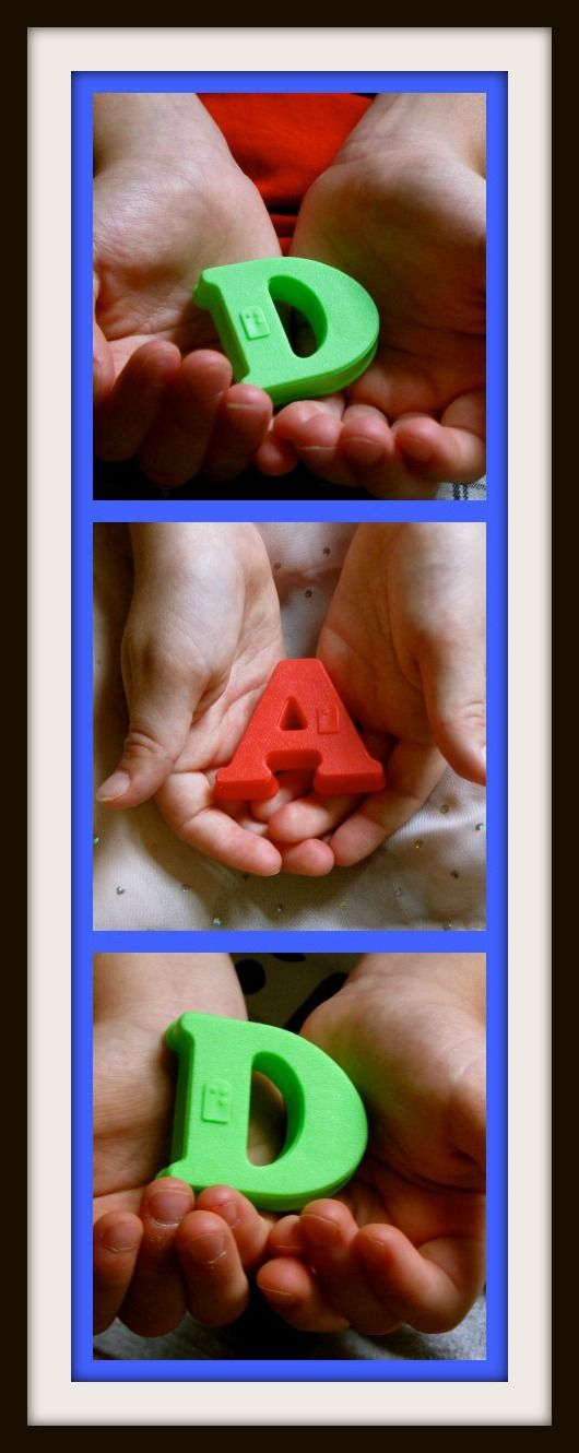 Ohh I just LOVE this. IT would be great for a Christmas present for grandparents. My children called my parents Nana & Pa so I could easily have the top picture spell Nana with my oldest daughter's hand, then the middle both of them holding the & and the bottom Addy holding the letters Pa! Ohh I think I know what someone's getting for Christmas!