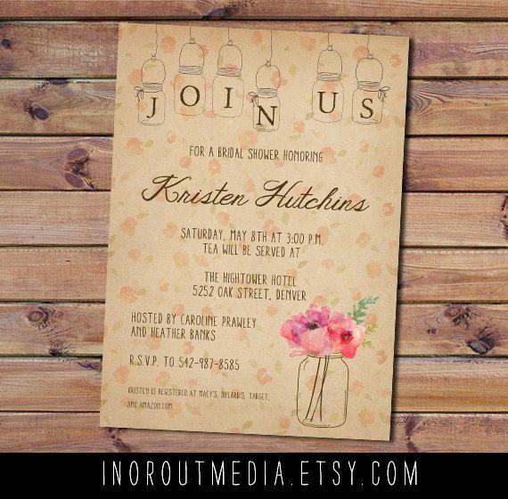 Rustic Floral Bridal Shower Invitation Mason Jars By Inoroutmedia 200