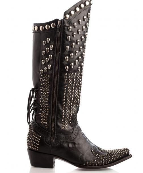 Double D Ranchwear by Lane Killa Biker Boot from Legendary Western !!! silver studs skulls black leather