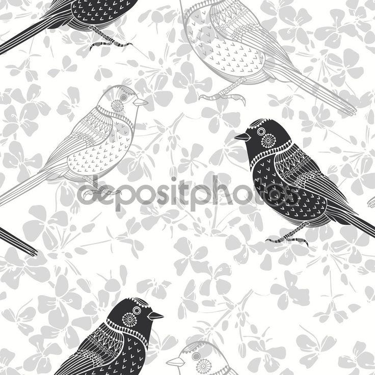 Цветочный фон с птичками - Векторная картинка: 61465727