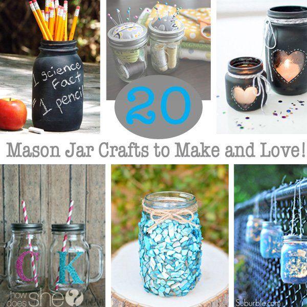 20+Mason+Jar+Crafts+to+Make+and+Love!+via+@howdoesshe