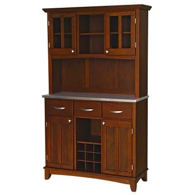 Home Styles Three-Drawer 44 in. W Cherry Buffet with Stainless Top and Hutch