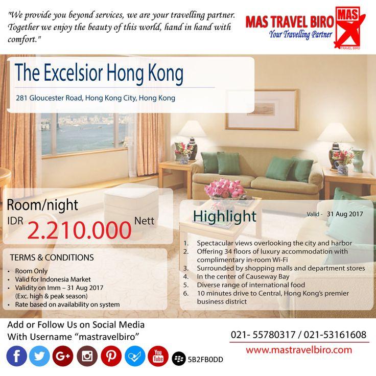 Bermalam di hotel The Excelsior Hong Kong hanya Rp 2.210.000 . Yuk booking..... #mastravelbiro #promohotel #JumatBerkah #HongKong