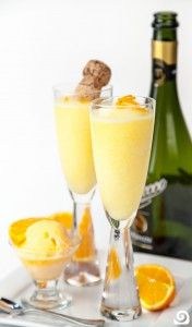 Orange Fromo Recipe 1 c orange juice 2 c champagne (brut, extra dry, or prosecco)* ¾ c orange sherbet orange zest