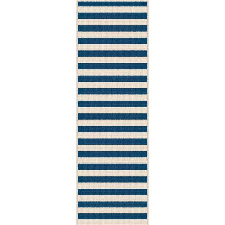 Garden City Navy (Blue) 2 ft. 7 in. x 7 ft. 3 in. Transitional Rug Runner