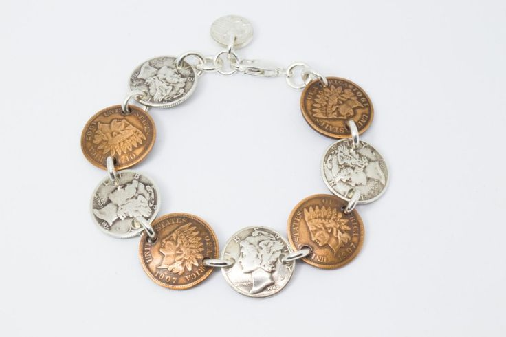 Bracelet Handmade from Vintage Indian Head Pennies and Silver Mercury Dimes (All Heads) with Solid Sterling Silver Findings