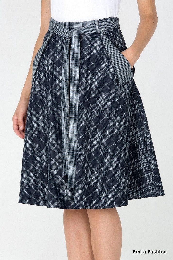 Plaid Skirt - Emka Fashion 407-illuzia - Malinka-fashion.ru