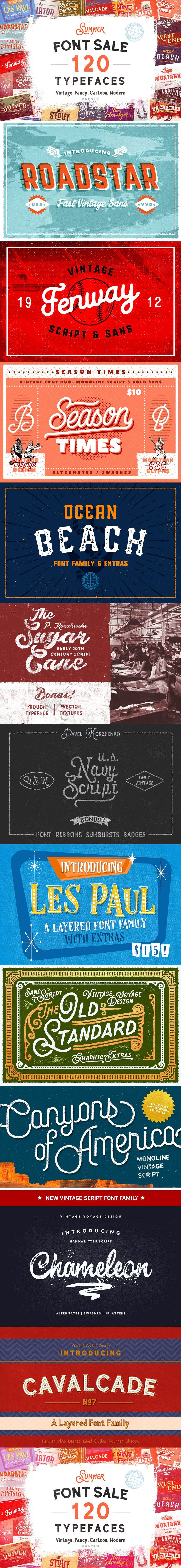 120 in 1 • Summer Font Sale -99% OFF ( #typography #retro #logodesign #print #inspiration #typeface #decorative #scrapbooking #watercolor #fashion #lettering #vintage )