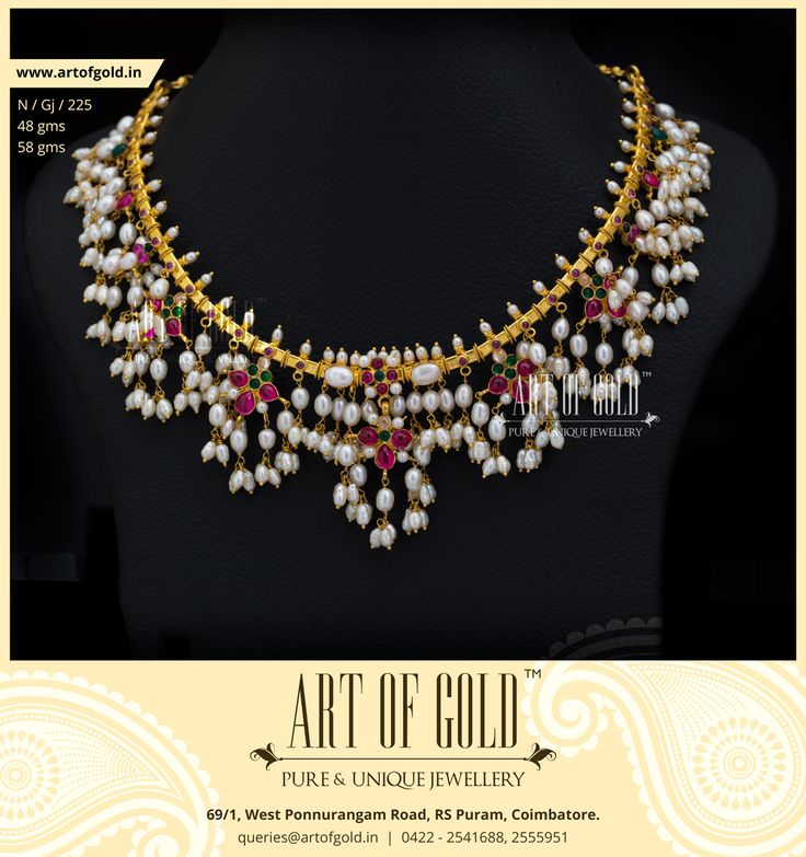 Traditional Gutta Pusalu Necklace   Art of Gold Jewellery, Coimbatore Click to request Quote and Buy!