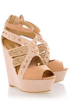 Nude Studded Wedges