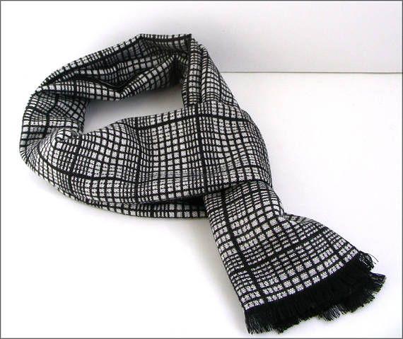 Black/White Cashmere man scarf/wrap Écharpe Homme Luxe