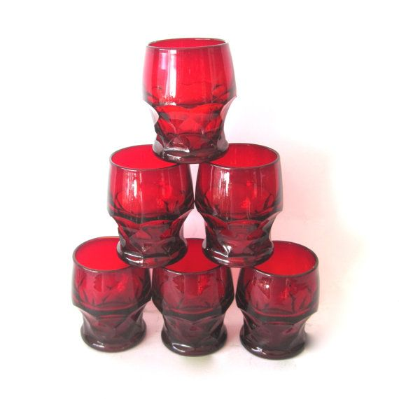 Vintage Ruby Red Glass Tumblers x 6 Anchor Hocking by Hallingtons