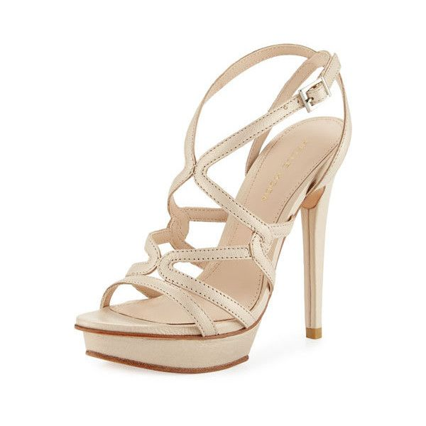 Pelle Moda Farah 2 Strappy Leather Sandal, Cream ($109) ❤ liked on Polyvore featuring shoes, sandals, platform shoes, strappy sandals, leather sandals, platform sandals and high heel platform sandals