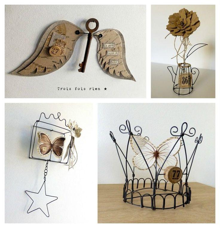 Expo Jumeauville, fil de fer, wire, ange, ange clé, couronne, fleur carton, wire box, wire crown, couronne fil de fer, masque éthnique, trois fois rien