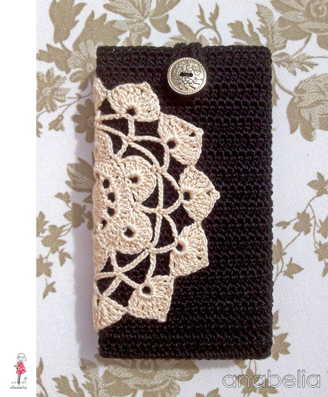 Black beige smart phone crochet cover by Anabelia