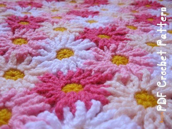 Crochet Pattern Everlasting Daisies Blanket Afghan Throw